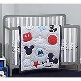 Disney Amazing Mickey Mouse 3 Piece Nursery Crib Bedding Set, Grey, Navy, Red, Blue