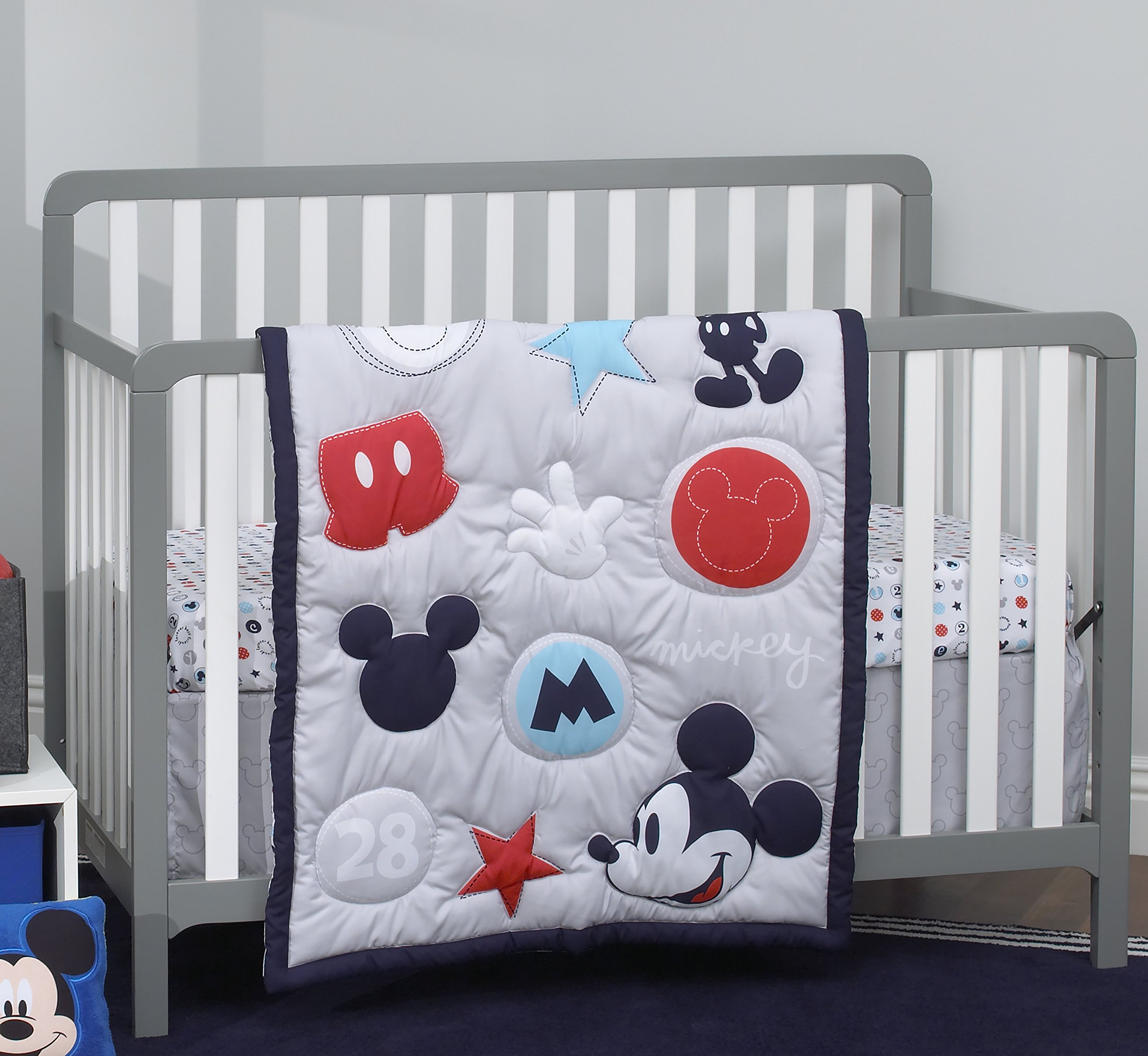Disney Amazing Mickey Mouse 3 Piece Nursery Crib Bedding Set, Grey, Navy, Red, Blue by Disney