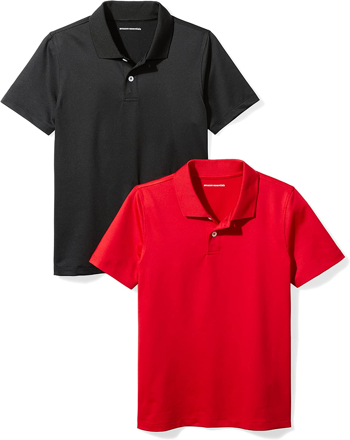 8 M Essentials Big Boys 2-Pack Performance Polo Black//Red