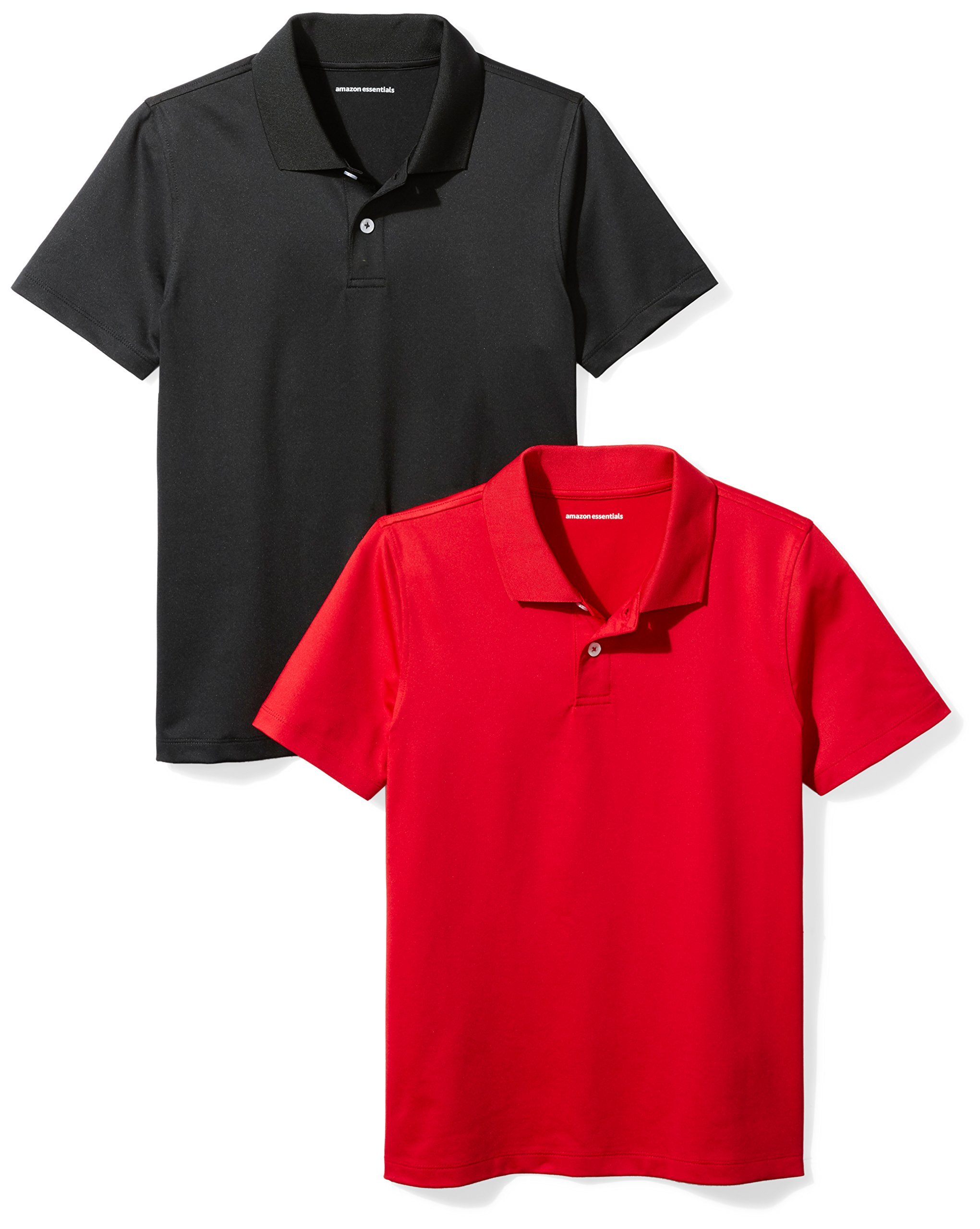 Amazon Essentials Boys' 2-Pack Performance Polo, Black/Red, L (10)
