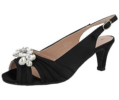 6215c9c4785 Ladies Missouri Comfort Plus Satin Gem Stone Kitten Heel Sling Back Wider  Fit Wedding Sandals Shoes