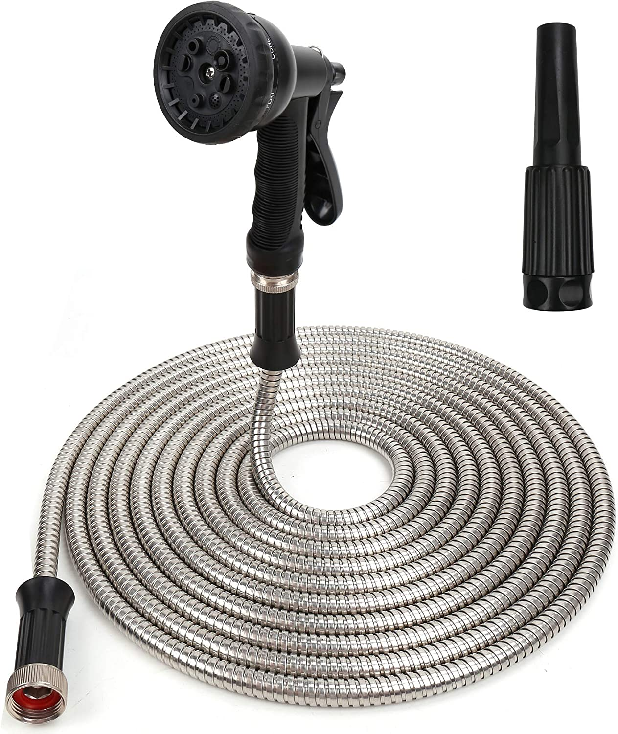 MultiOutools 304 Stainless Steel Garden Hose 25FT Metal Water Hose with 2 Free Nozzles Heavy Duty Flexible Metal Garden Hose 8 Functions Spray Nozzle Lightweight Durable Kink Free Outdoor Hose
