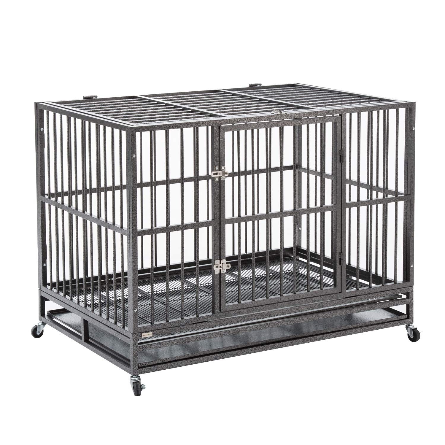 Sliverylake 3XL 48'' Heavy Duty Metal Dog Crate Cage Pet Kennel Playpen Exercise w/ Wheels Tray US by Sliverylake