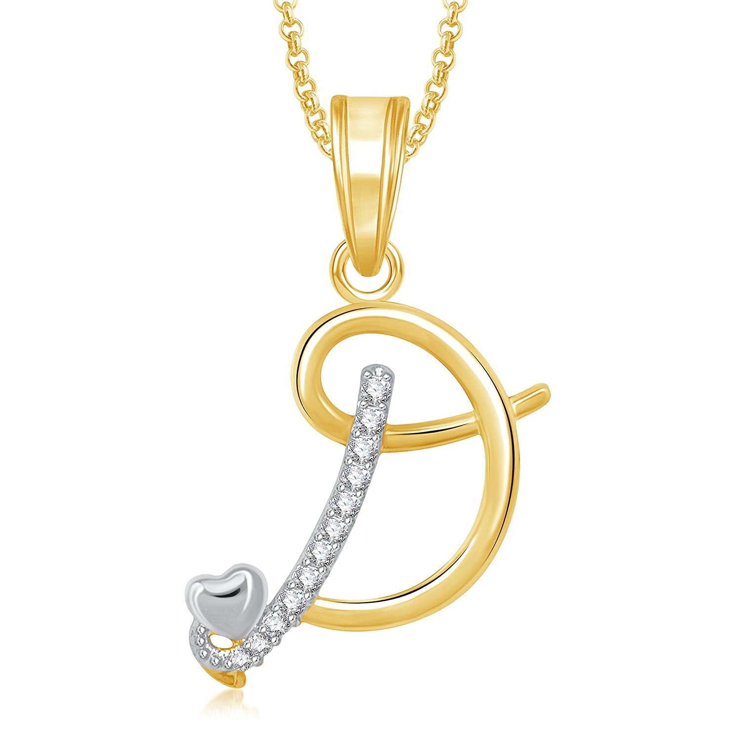 Buy meenaz gold plated american diamond d letter pendant pendant buy meenaz gold plated american diamond d letter pendant pendant for unisex online at low prices in india amazon jewellery store amazon mozeypictures