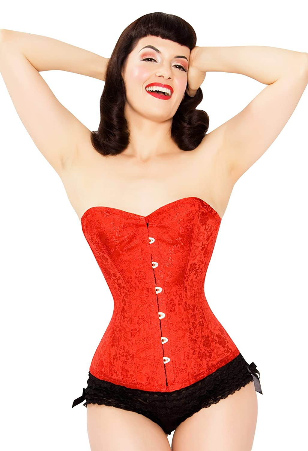 Playgirl Full Steel Boned Overbust Corset Shaper In A Hot Red Floral Jacquard