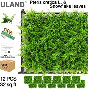 """ULAND Artificial Hedges Panels, Topiary Fence Screening, Faux Greenery Grass Backdrop, Outdoor Privacy Wall Garden Fence Decoration, Pack of 12pcs 20""""x20"""""""
