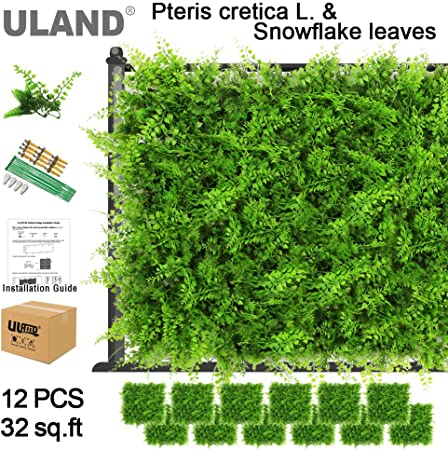 Uland Artificial hojas verdes bush para jardín pared Natural UV estable de boj plástico Césped Mat para Art 3d Artificial Planta pared 20
