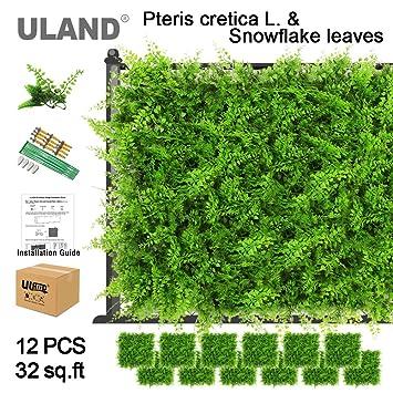 ULAND Artificial Greenery Bush for Garden Wall UV Stable Natural Boxwood  Plastic Grass Mat for Art 3D Artificial Plant Wall 20\u0027\u0027x20\u0027\u0027/pcs (Pack of