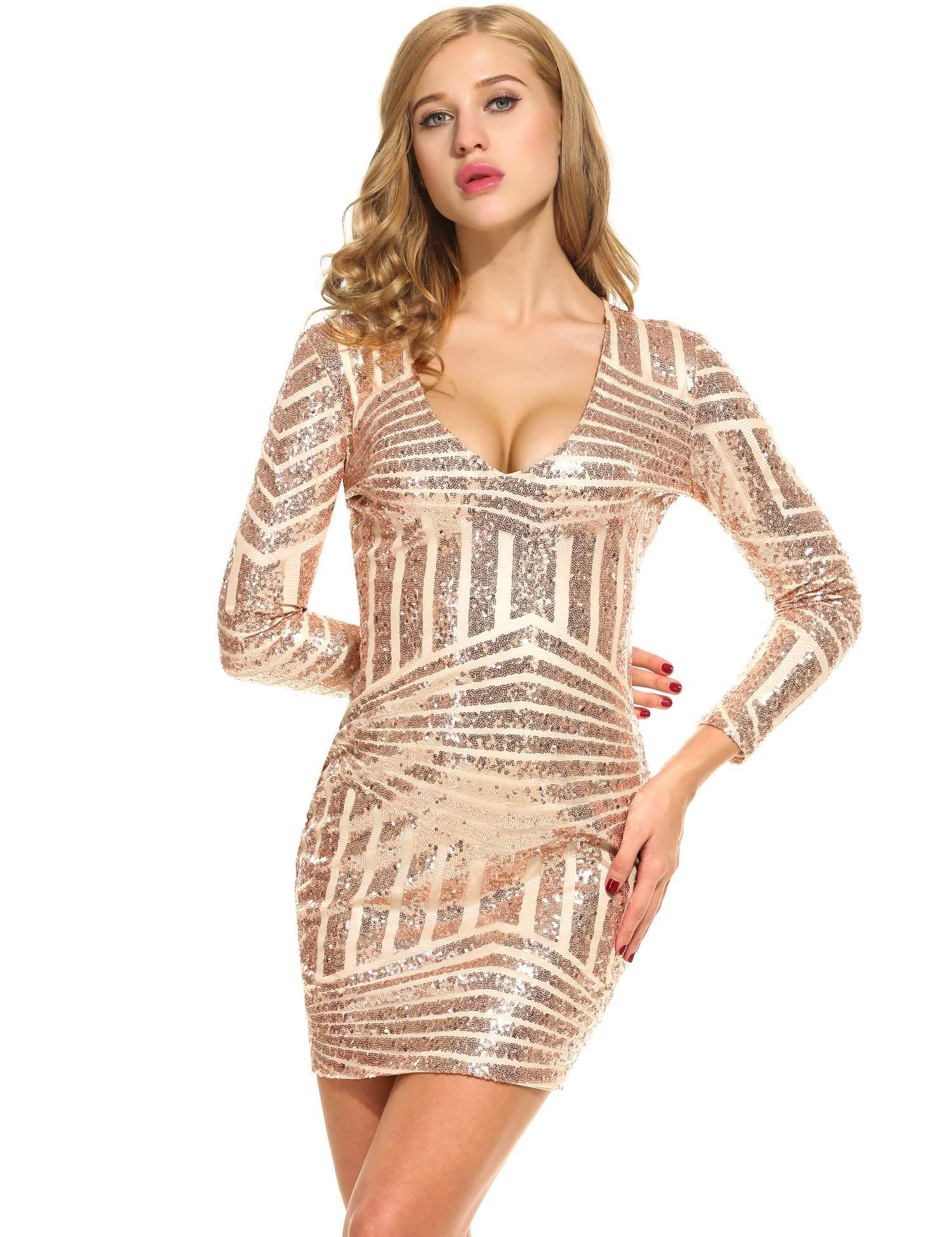 BULGES Womens V-Neck Long Sleeve Sequined Cocktail Bodycon Mini Dress ,Pink,Large