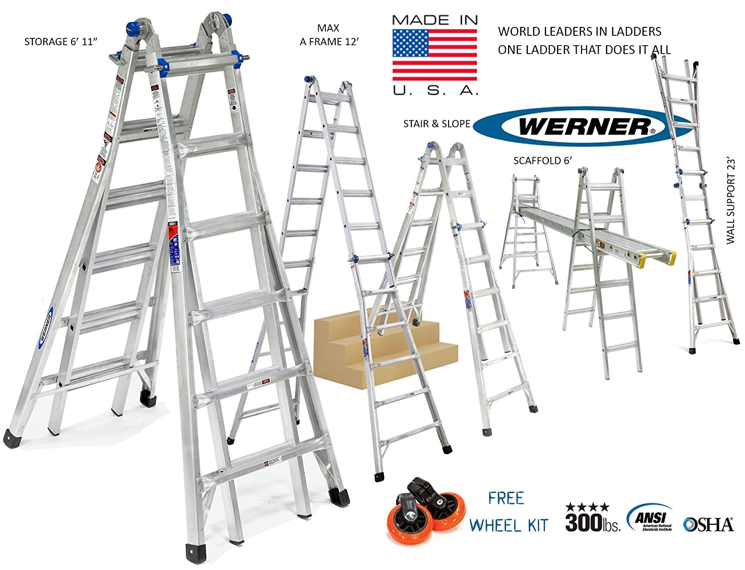 Werner USA MT Series Model 26 - 6ft to 23ft Aluminium Step ladder Multi folding - Multi use 24 in 1 - A-frame - wall support & staircase ladder - Heavy duty - Ideal for double height - Wheel kit & Wide flared base - Worlds best Telescopic ladder - Top seller on Amazon USA