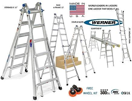 werner usa mt series model 26 6ft to 23ft aluminium step ladder multi folding