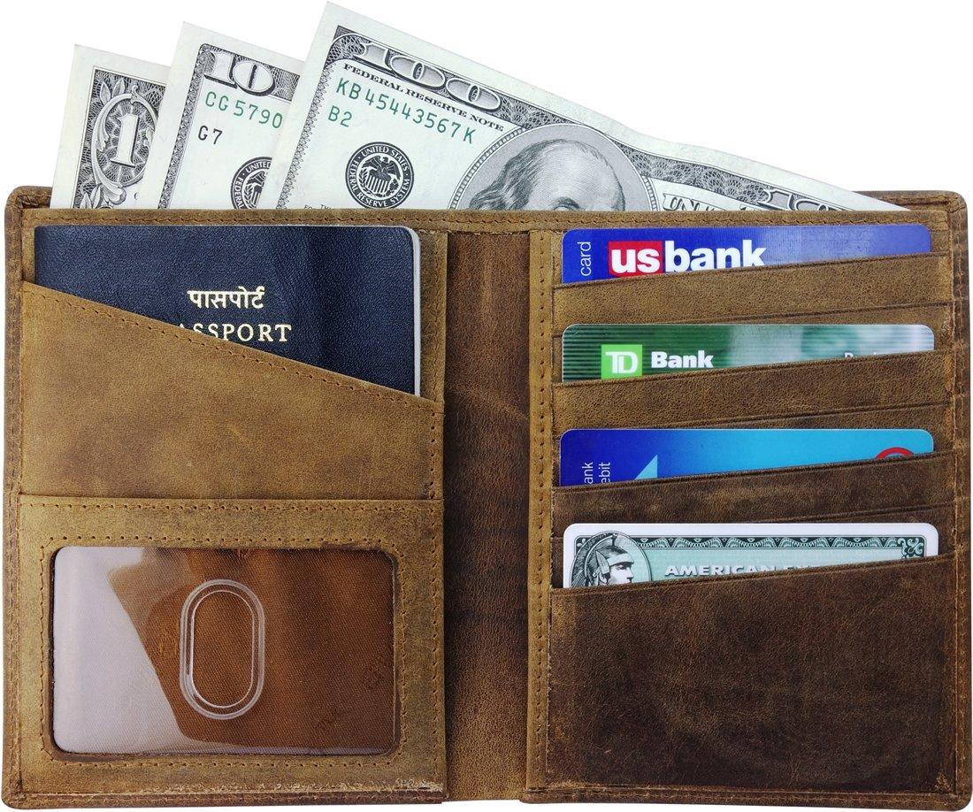 AurDo RFID Blocking Real Leather Passport Holder Cover Case & Travel Wallet for Men & Women (Hunter Natural Brown)