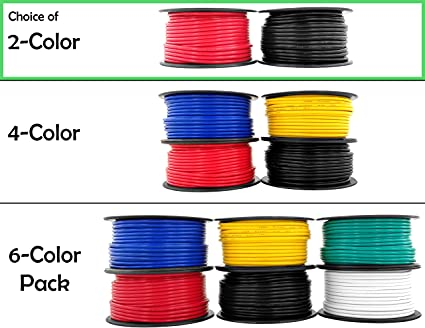 12 gauge copper clad aluminum low voltage primary wire 100 ft red & black (200 feet total) for 12v automotive trailer light car audio stereo harness 6 way trailer lights 6 way trailer wiring harness 100 feet #7