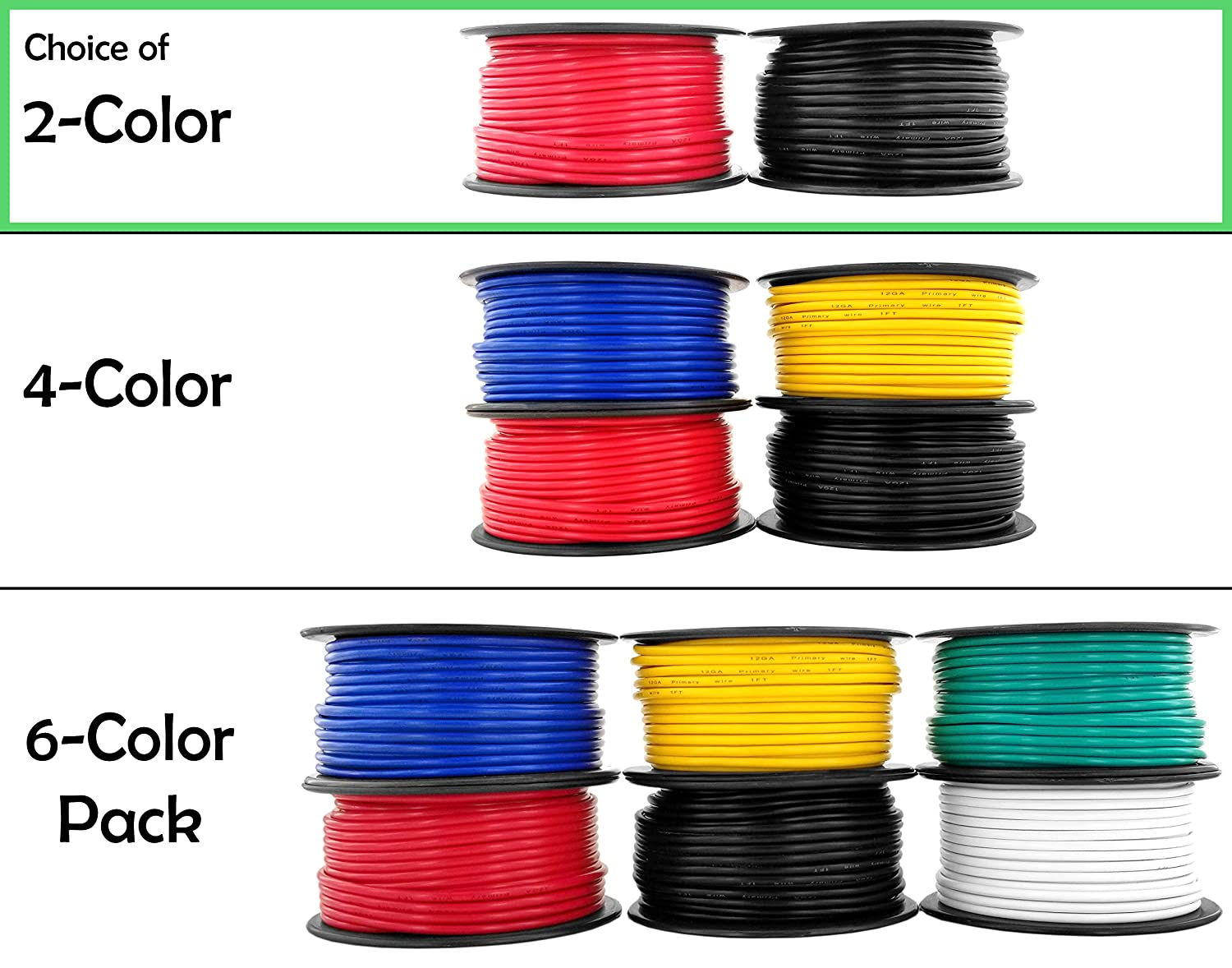 12 Gauge Copper Clad Aluminum Low Voltage Primary Wire 100 ft Red & Black (200 feet Total) for 12V Automotive Trailer Light Car Audio Stereo Harness Wiring (Also in 4 or 6 Color Combo) 81qZSDOj-yL