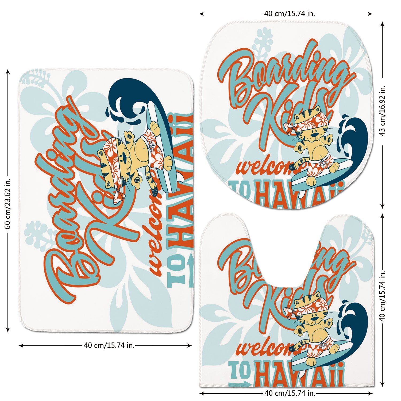 3 Piece Bathroom Mat Set,Toddler,Cute Kitten Surfing Boarding Kids Hawaii Animal Fun Abstract Floral,Turquoise Orange Dark Blue,Bath Mat,Bathroom Carpet Rug,Non-Slip