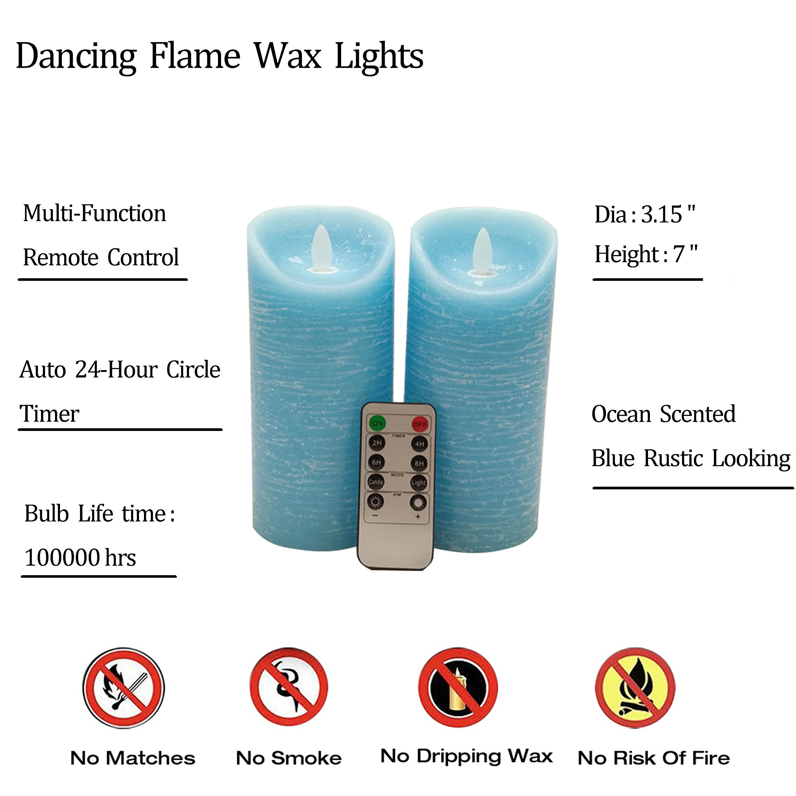 Adoria Dancing Flame LED Candles Auto-Cycle Timer,Real Wax Blue Rustic Remote Set of 2-Ocean Scented-Dia3.15x7inch
