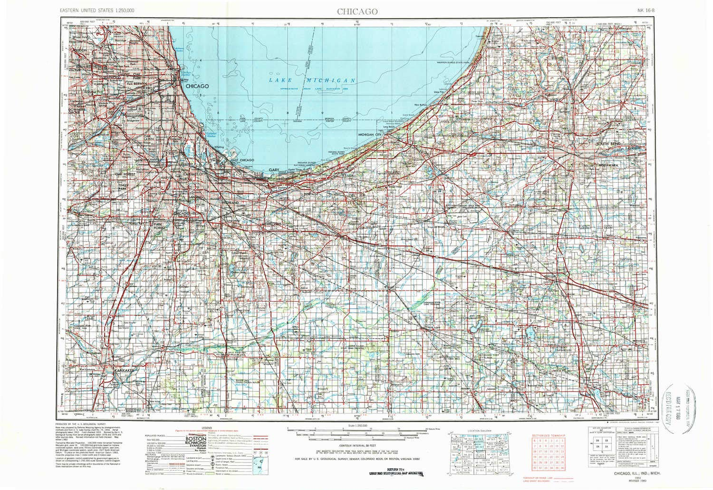 Topographic Map Chicago Amazon.: YellowMaps Chicago IL topo map, 1:250000 Scale, 1 X 2