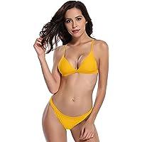 SHEKINI Women's Triangle Padded Brazilian Bottom Two Piece Bikini Swimsuits