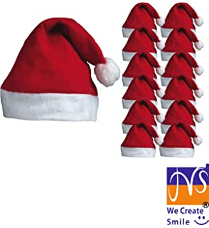 ec75397cf78af JMS® 12 x Santa Hats - Father Christmas Red Santa Hats with Bobble for Xmas