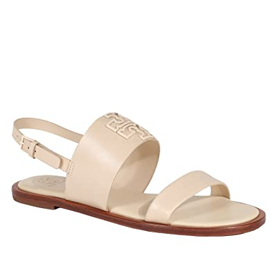 Tory Burch Melinda Sandal Shoes Flat Leather Powder Coated (7.5, Dulce De  Leche)
