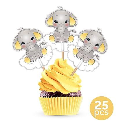 Adornos para tartas de elefante amarillo, para decoración de ...