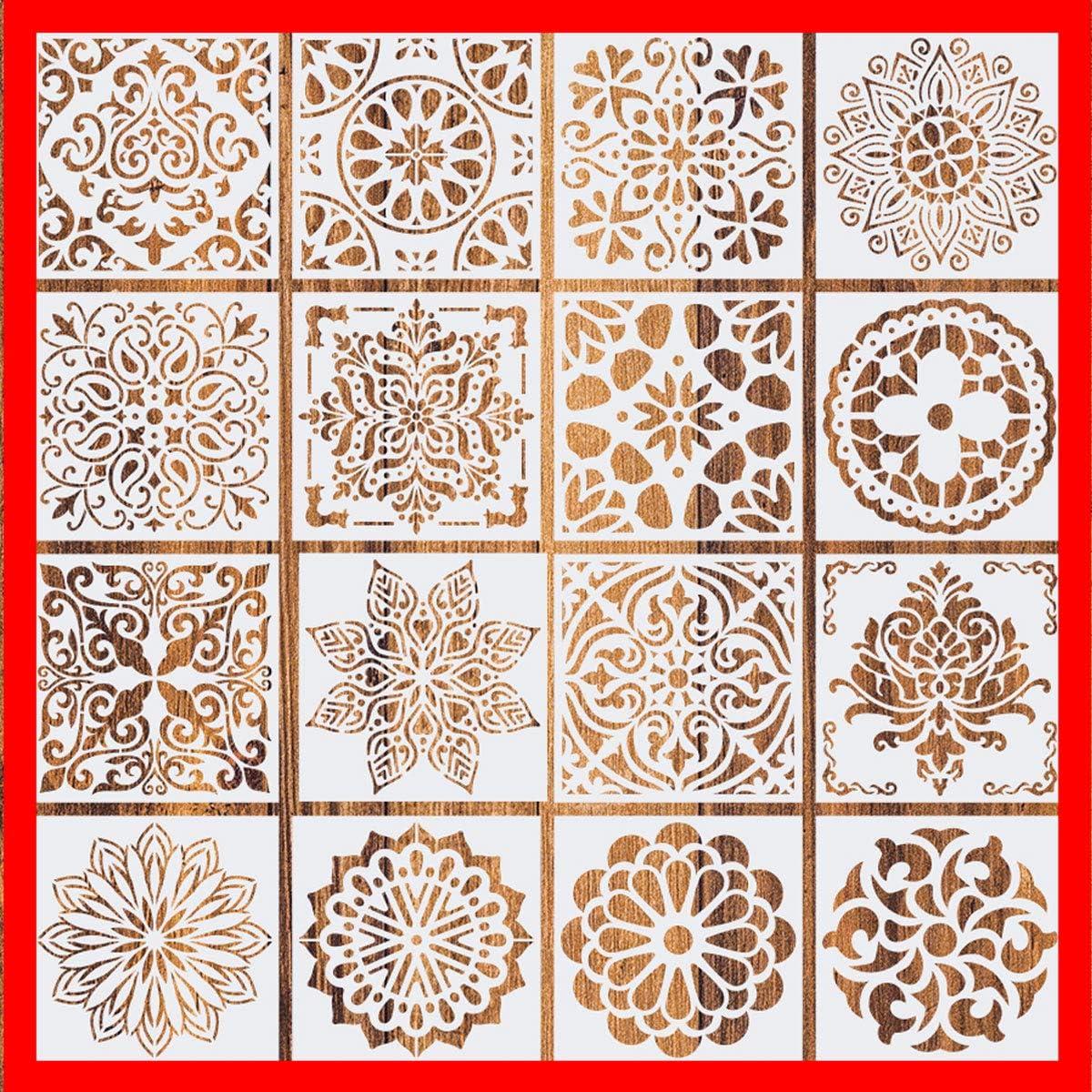 2020 New (6 x 6 inch) Set of 16 - Reusable Mandala Floor Stencil Painting Stencil, Laser Cut Painting Template Floor Wall Tile Fabric Wood Stencils DIY Decor