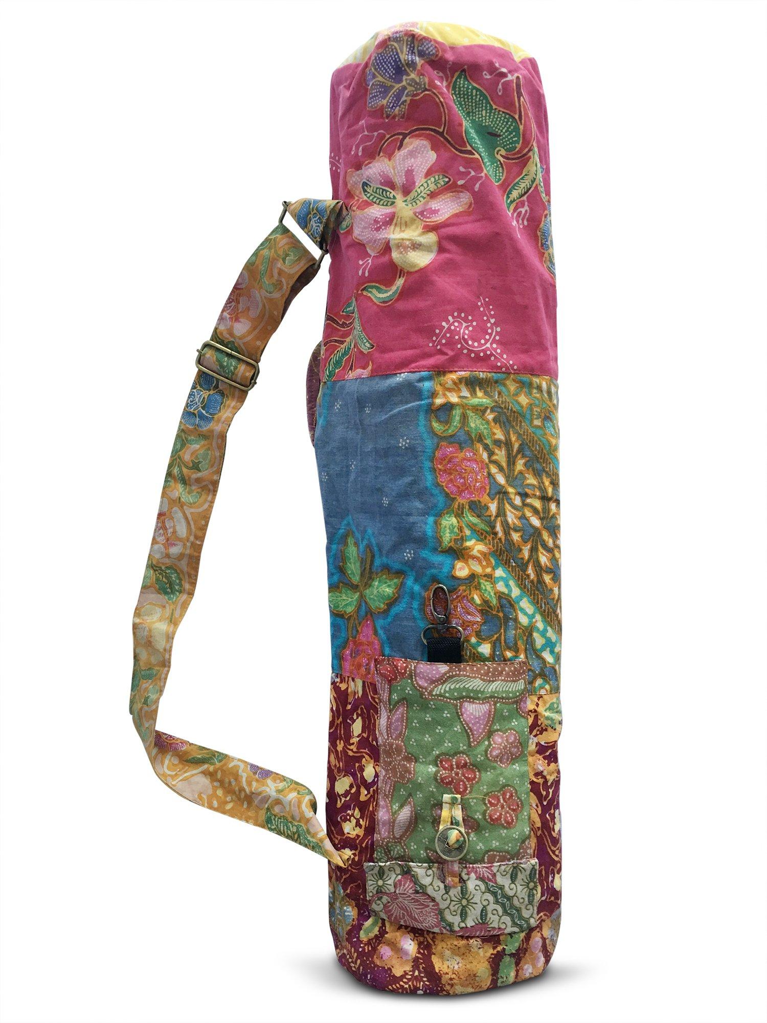 Yoga Mat Bag Large Full Zip Exercise Yoga Mat Sling Bag Recycled Vintage Batik Cotton Handmade Fully Lined with Adjustable Strap, 2 Storage Pockets and Keychain Hook (1 Bag Only)