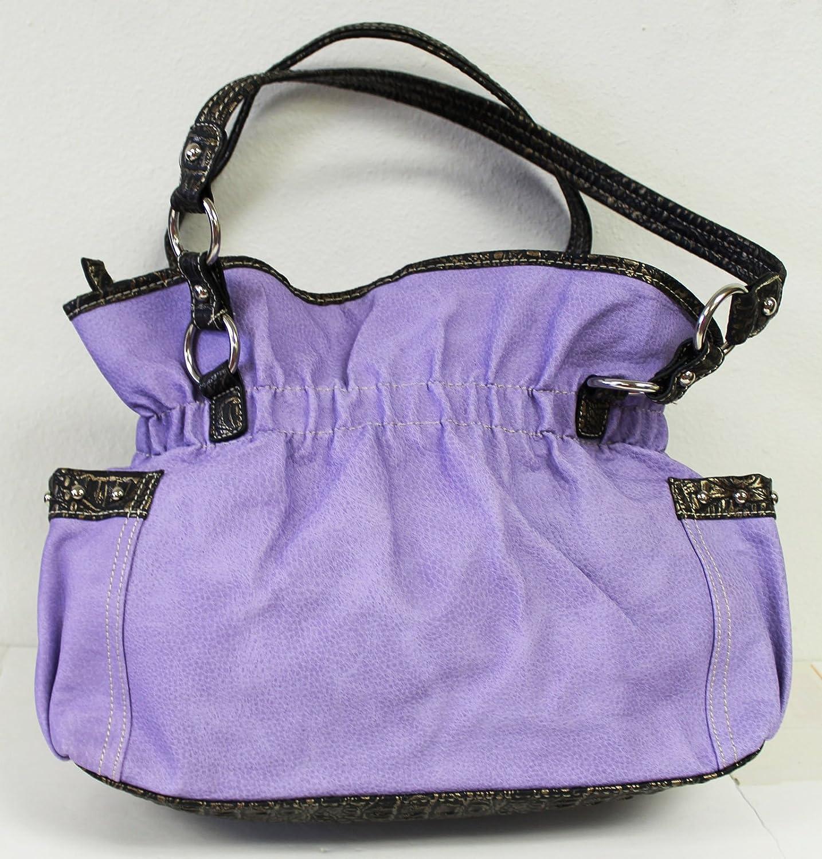 Purple Western Hobo Shoulder Bag With Zipper Top Closure