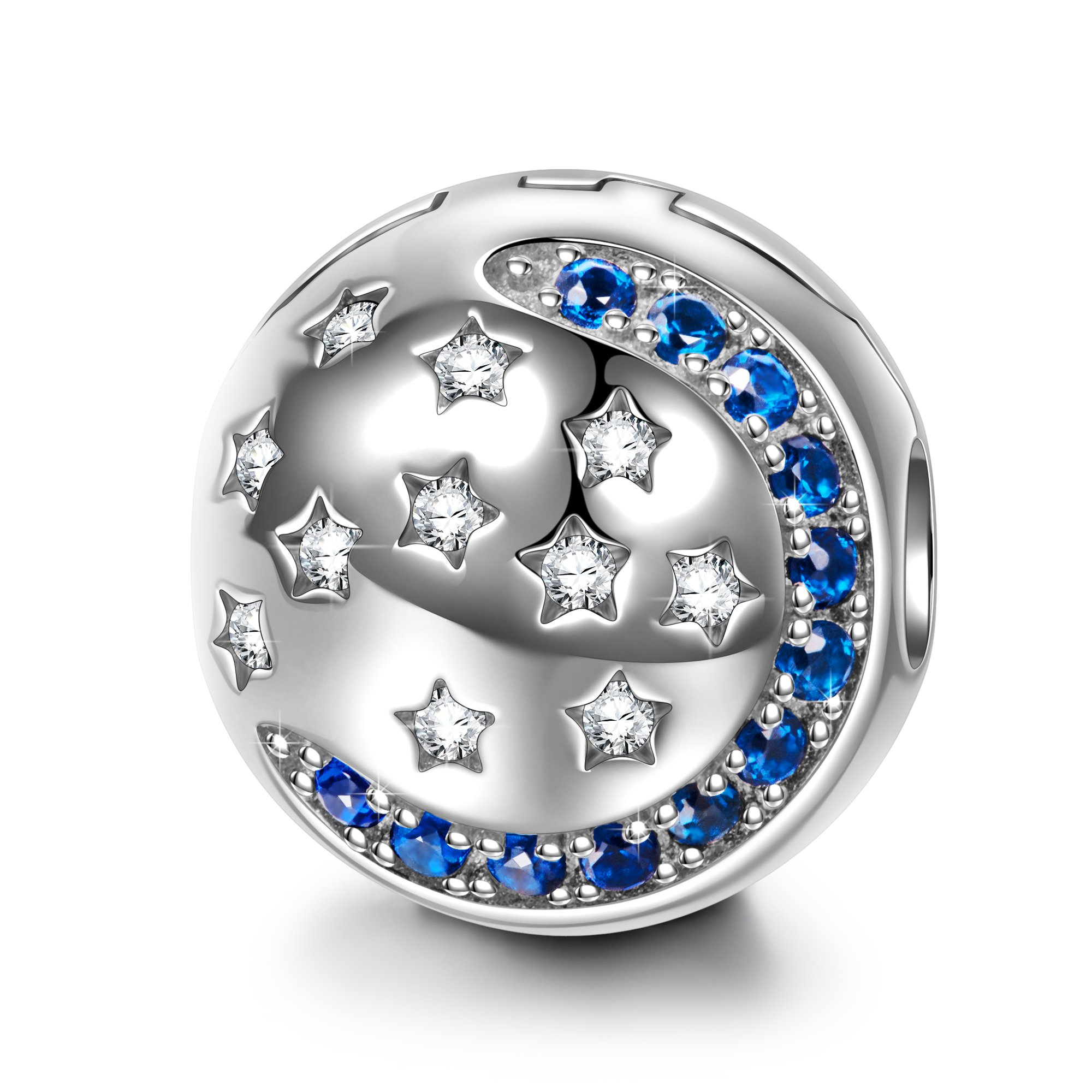 NinaQueen Starry Sky 925 Sterling Silver Moon and Star Stopper Clasp Bead Charms for Pandöra Bracelets Necklace Jewelry Gifts For Woman Birthday Gifts For Her Anniversary Gifts For Wife Mom Daughter