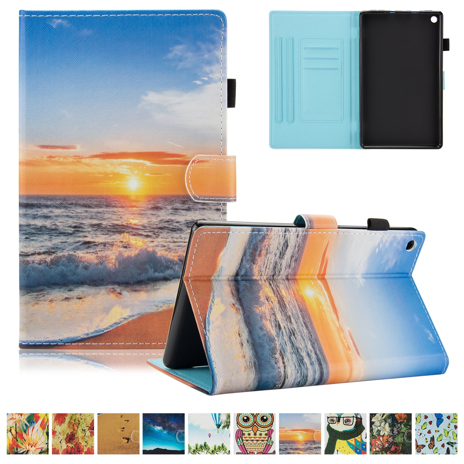 UUcovers Kindle Fire HD 8 Case,Slim Folio Stand Case with Auto Wake/Sleep&[Pen Slot] Smart Cover for Amazon Kindle Fire HD 8 7th Gen 2017 Release & 6th Gen Release 2016 with Free Stylus,Sunrise by UUcovers