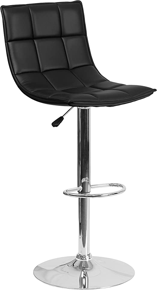 Black Quilted Vinyl Adjustable Height Bar Stool with Arms /& Chrome Base