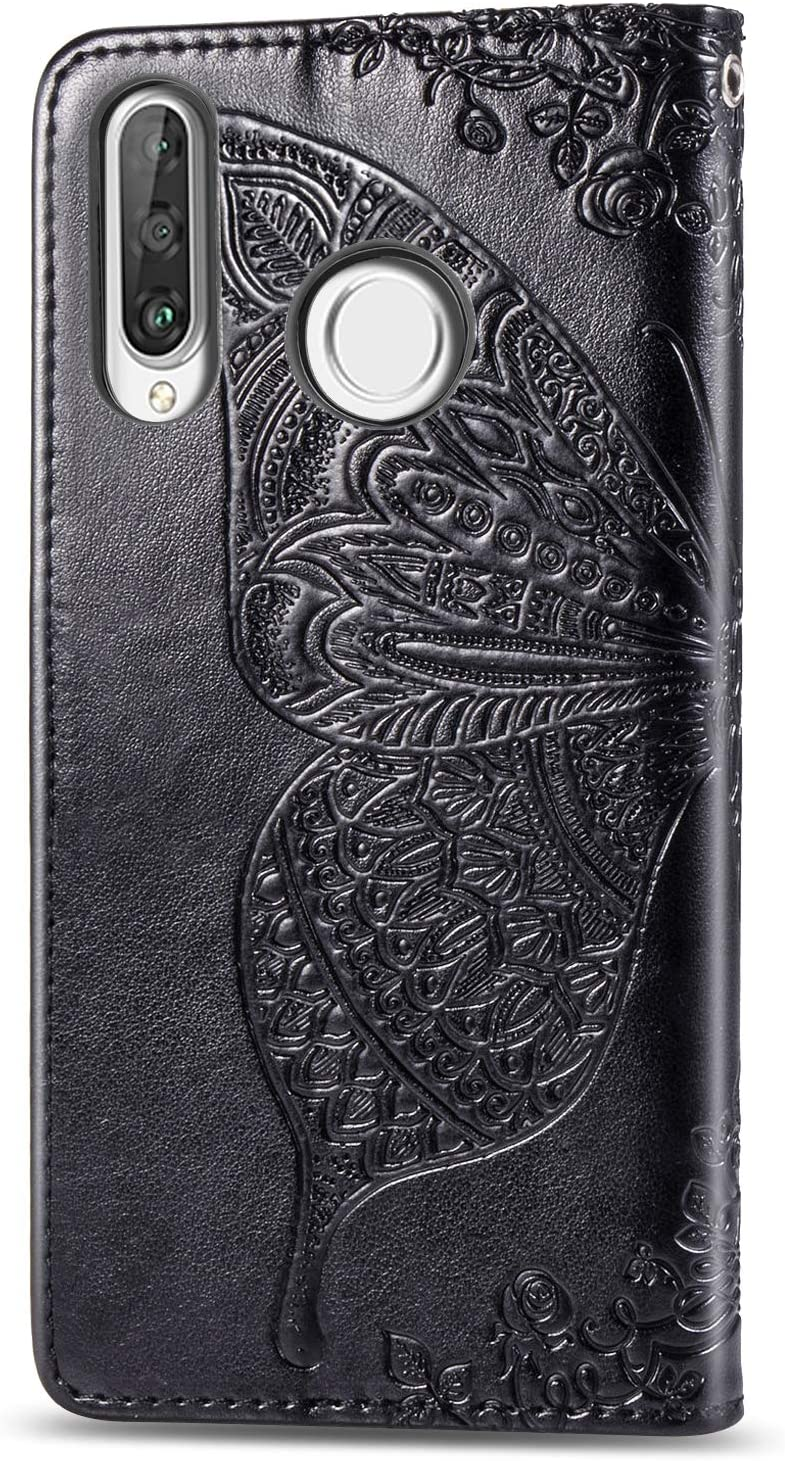 WIWJ Compatible with Huawei P30 Lite Case,Flower Butterfly 3D Embossed PU Leather Case with Card Holder Wallet Cover Flip Case Cover for Huawei P30 Lite-Blue