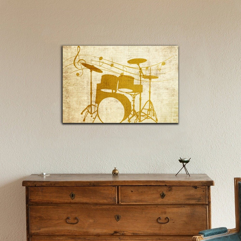 Amazon.com: wall26 Canvas Wall Art - Cool Drum Set on Blackground ...
