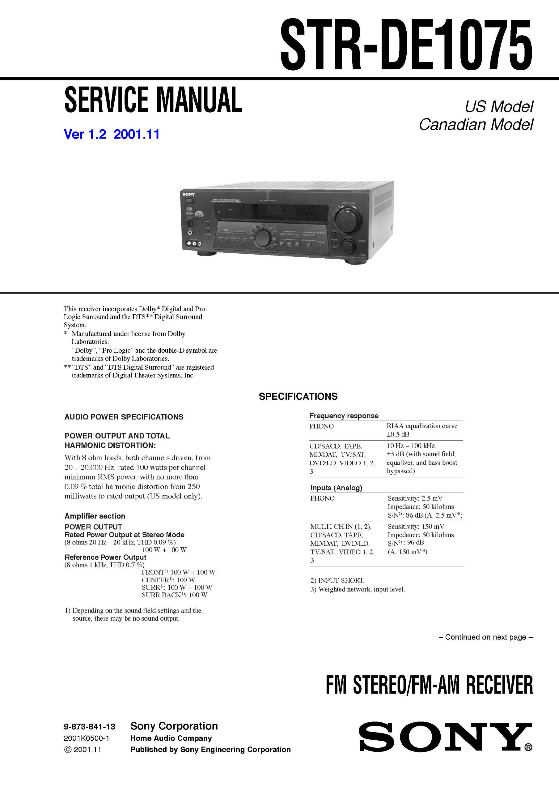 sony strde1075 str de1075 service manual sony amazon com books rh amazon com Sony STR K7000 Sony STR K7000