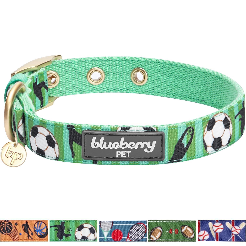 Blueberry Pet(ブルーベリーペット) スポーツファン サッカーデザイン スプリンググリーン 犬首輪 大型犬用 首回り43cm~52cm 長さ調節可能 B075K6W8TZ 大型犬 2.5cm x 43-52cm