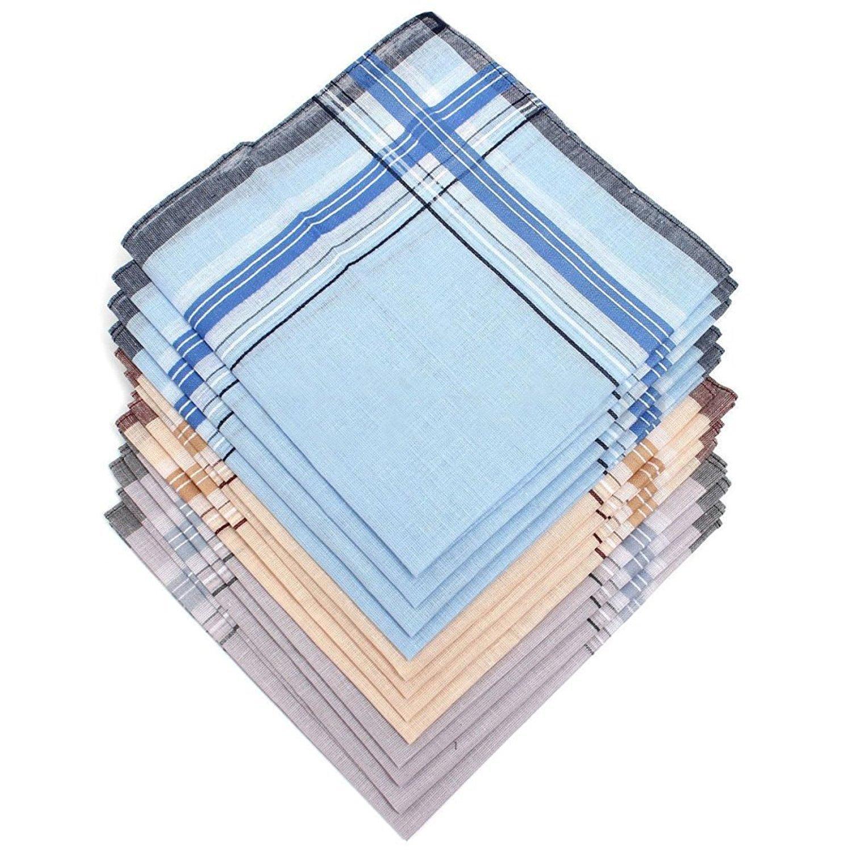 12Pcs Men's Square Pocket Handkerchiefs 38 x 38cm ( Colour Random )