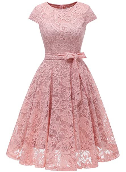 Muadress Women Short Lace Bridesmaid Dresses With Cap Sleeve Formal