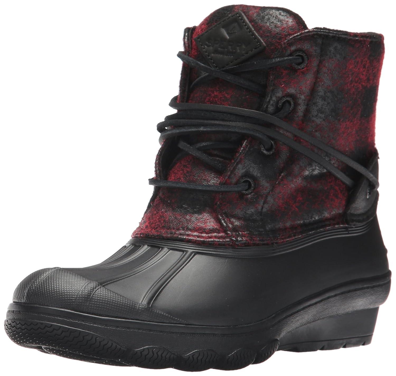 Sperry Top-Sider Women's Saltwater Wedge Tide Wool Rain Boot B01NBMPI7J 11 B(M) US Black/Red/Buffalo Plaid