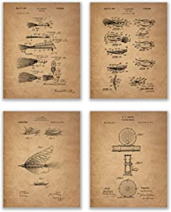 Fly Fishing Patent Prints - Set of 4 (8 inches x 10 inches) Lure Rod and Bait Photos - Cottage and Lake Wall Decor