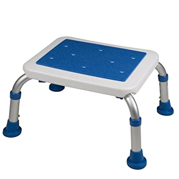 Pcp Adjustable Non Slip Bath Safety Step Stool, White/Blue