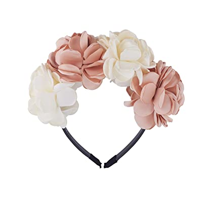 Be Unique Bowtique, Silk Flower Petals Gold and Ivory Crown Headband with Teeth, Girls