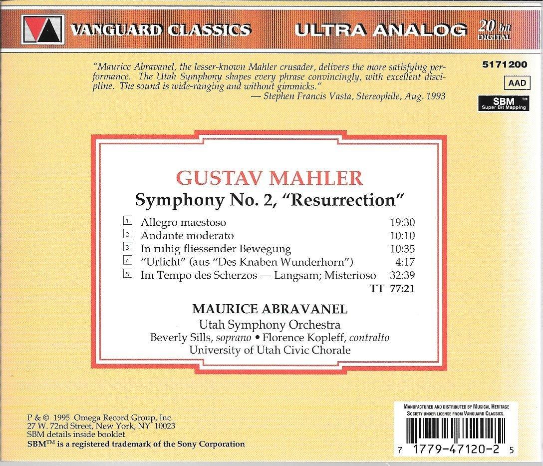Gustav Mahler, Utah Symphony Orchestra, Maurice Abravenel, Beverly ...