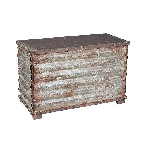 Superbe Amazon.com: Household Essentials Vintage Metal Storage Trunk, Rustic  Silver, X Large: Kitchen U0026 Dining
