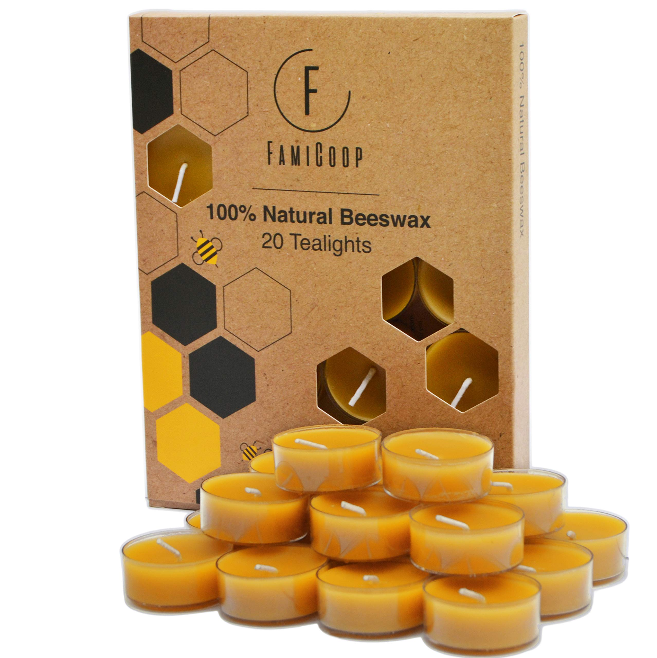 100% Pure Beeswax Candles - 20PC Non Toxic Candles - Fill Your Home With the Warm Glow of Natural Beeswax Tealight Candles - Makes the Perfect Gift by FamiCoop (Image #1)