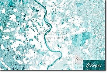 Amazon Com Introspective Chameleon Cologne Germany Original Map