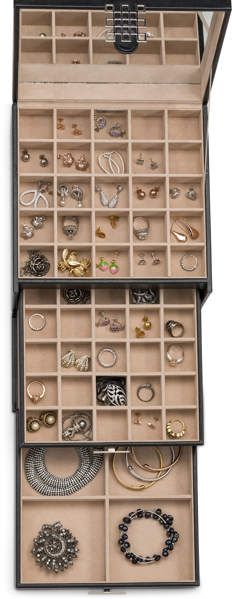 c33e2f3bd Glenor Co Earring Organizer Holder - 50 Small 4 Large Slots Classic Jewelry  box with Drawer Modern Closure, Mirror, 3 Trays for All Sizes Earrings, ...