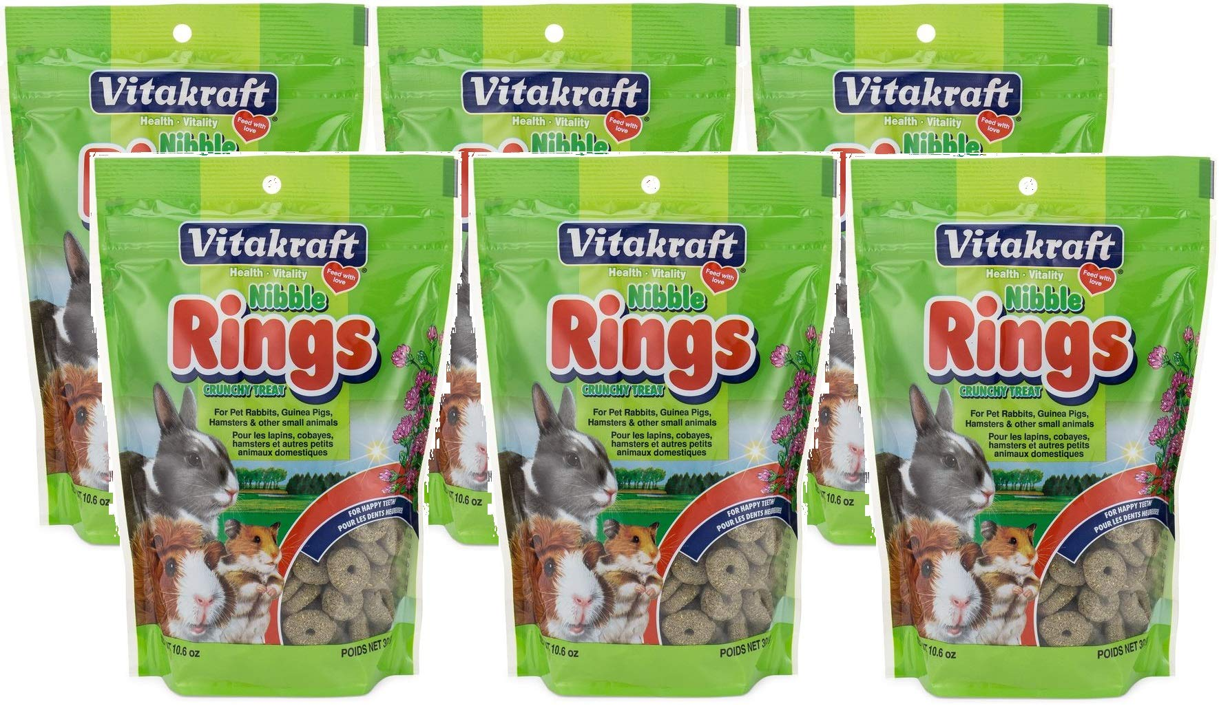 VitaKraft Small Animal Nibble Rings Crunchy Treat - 6 PACK by Vitakraft