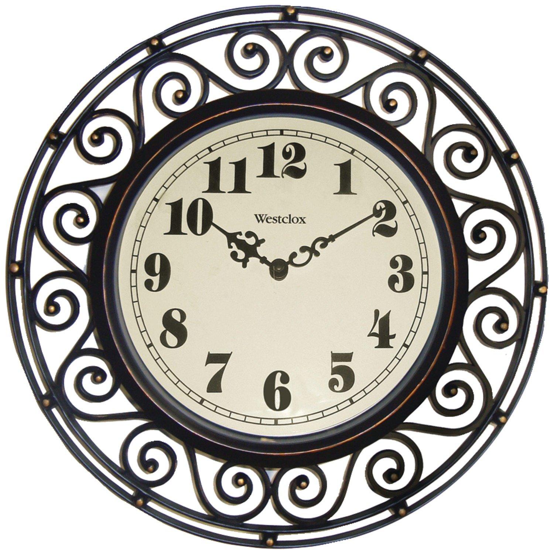 Amazon westclox 32021 round filigree rubbed clock 12 inch amazon westclox 32021 round filigree rubbed clock 12 inch bronze home kitchen amipublicfo Gallery