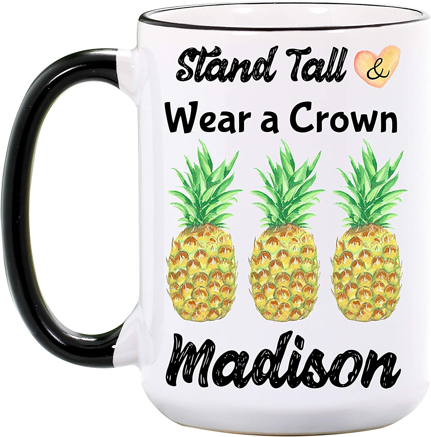 Pineapple Mug - Personalized Large 15 oz or 11 oz Ceramic Cup - Pineapple Gifts for Women - Cute Pineapples Mugs - Fruit Coffee Cups - Dishwasher & Microwave Safe - Made In USA