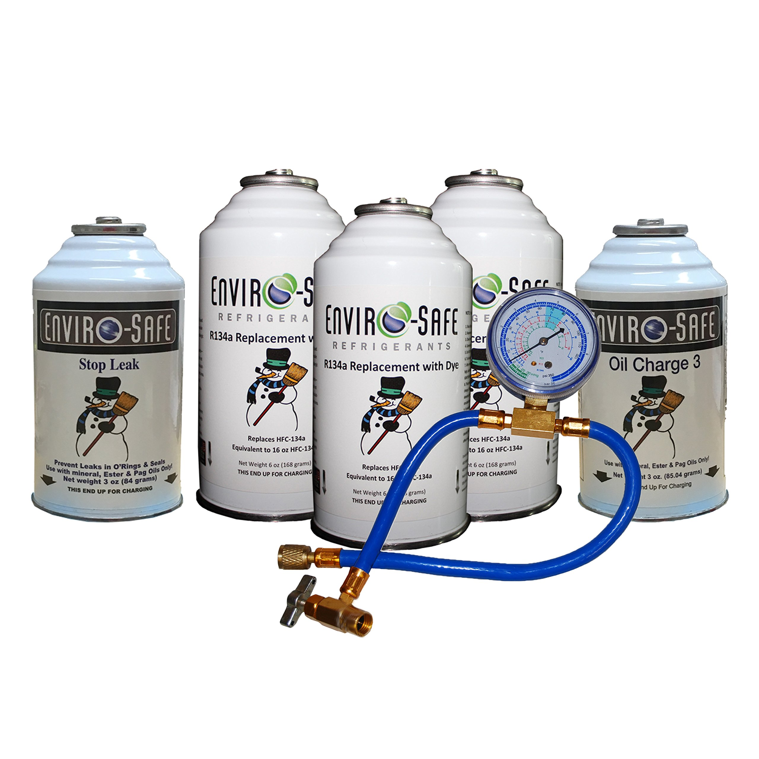 Enviro-Safe Vehicle Refrigerant Replacement Complete Car Kit 5 Cans Tap + Gauge by Enviro-Safe